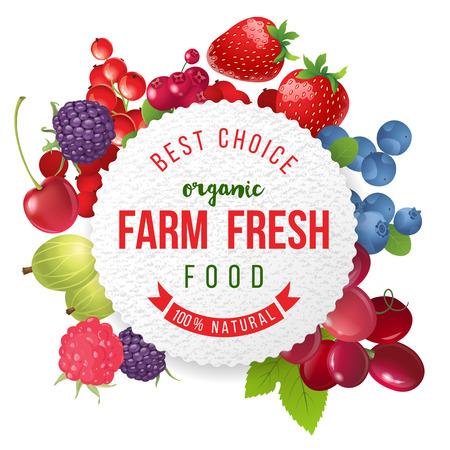 fresa: Emblema redondo con bayas frescas dulces y diseño de tipo Vectores