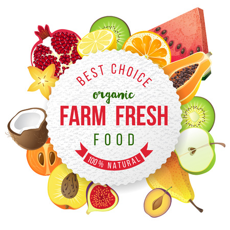 owoców: Okrągły emblemat z słodkimi owocami i typu projektu Ilustracja