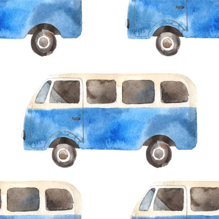 woodstock: Watercolor seamless pattern with retro travel van Illustration