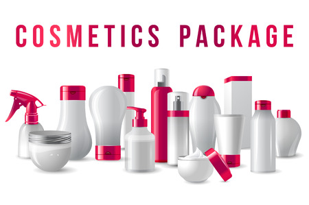 lotion: cosmetics packages border with pink caps