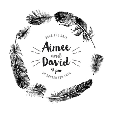 pen writing: Hand drawn feathers wreath with save the date type design