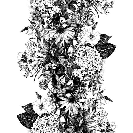dessin fleurs noir et blanc tiré par la main frontière perméable avec des fleurs dans