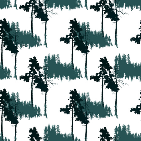 non   urban scene: seamless pattern with caniferous forest landscape