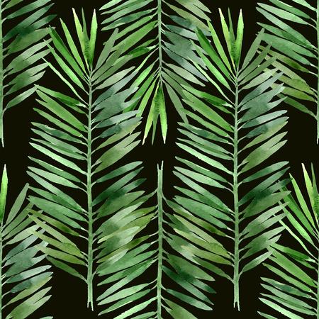 folha: folha de árvore de palma aquarela padrão sem emenda no fundo preto Ilustração