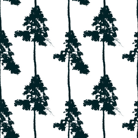non urban: seamless pattern with pine tree on white background