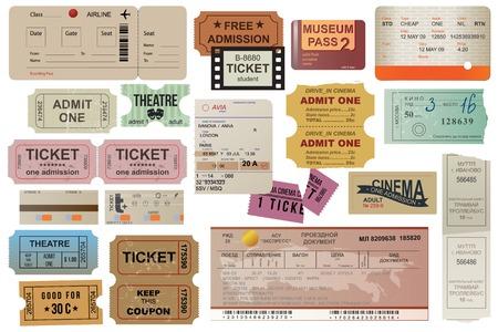 빈티지 스타일의 세계 여행 티켓 모음
