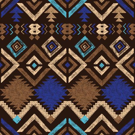indio americano: Mano brillante dibuja el modelo inconsútil tribal Vectores