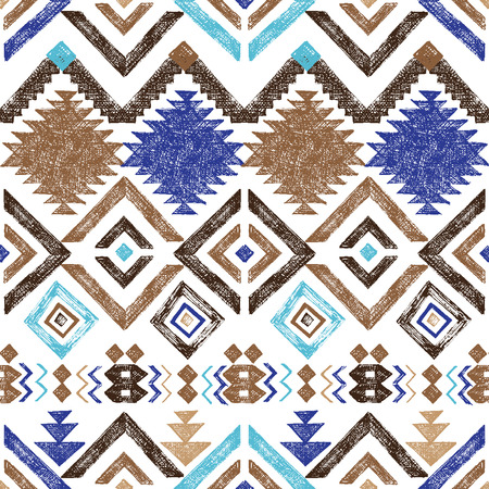 american indian aztec: Bright hand drawn tribal seamless pattern