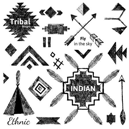 wigwam: Hand drawn tribal elements set on white background