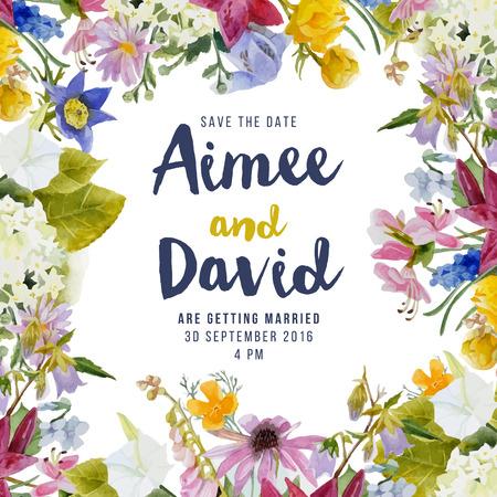 Hochzeitseinladungskarte mit Aquarellblumen Illustration