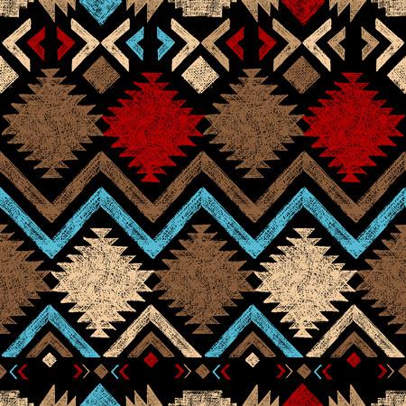 tribal: Bright hand drawn tribal seamless pattern