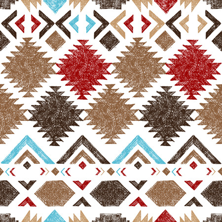 native american art: Bright hand drawn tribal seamless pattern