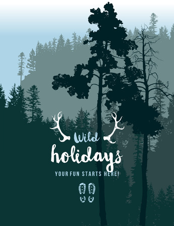 tranquil scene on urban scene: Retro-styled poster with coniferous forest landscape