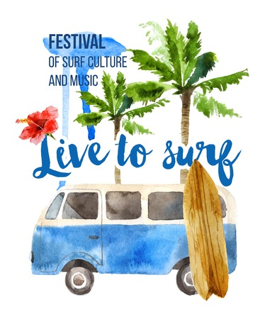 Live to surf watercolor poster in retro style Illustration