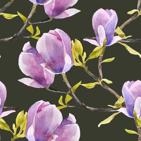 magnolia tree: Watercolor magnolia seamless pattern on dark background