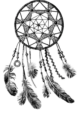 dreams: hand drawn indian dream catcher on white background