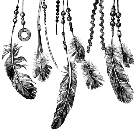 Tribal theme background with hand drawn feathers Çizim