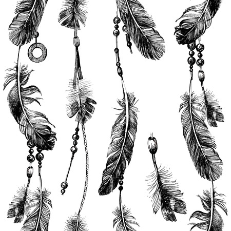 seamless pattern with hand drawn feathers and beads in tribal style Vectores