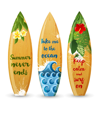 3 wooden surfboards with prints and different type designs