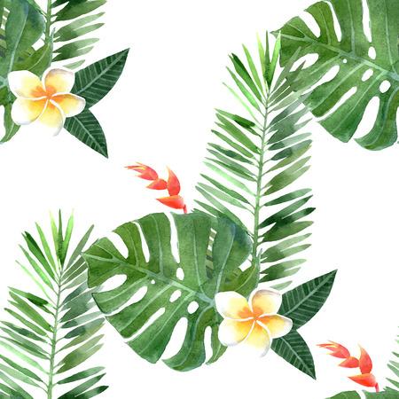 手描き水彩の熱帯植物のシームレスです