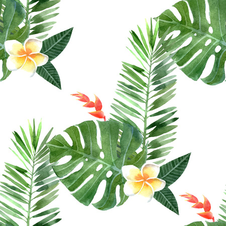philodendron: hand drawn watercolor tropical plants seamless