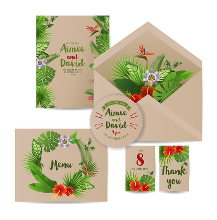 palm wreath: wedding invitation cards with tropical plants and flowers Illustration