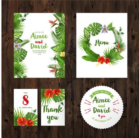 borde de flores: tarjetas de invitación de boda con plantas y flores tropicales