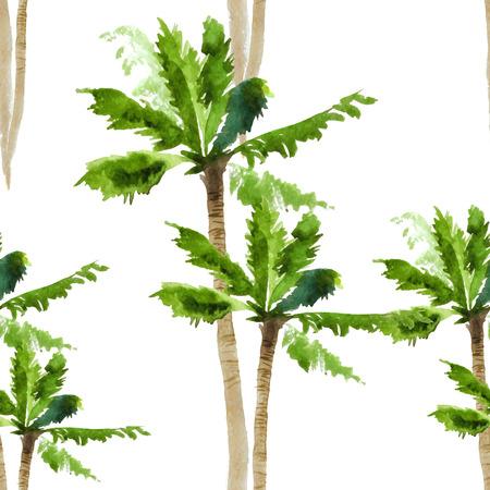 ヤシの木水彩のシームレス パターン