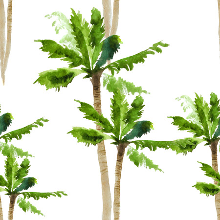palmbomen waterverf naadloos patroon