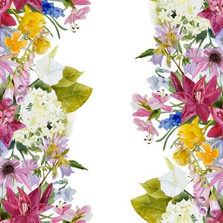 Hand drawn watercolor floral seamless border