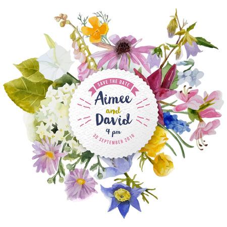 borde de flores: tarjeta de invitaci�n de boda con flores de la acuarela