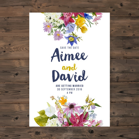 wedding invitation card with watercolor flowers Vettoriali