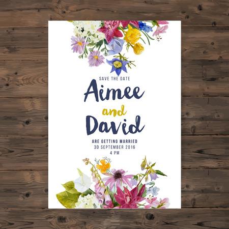 borde de flores: tarjeta de invitación de boda con flores de la acuarela