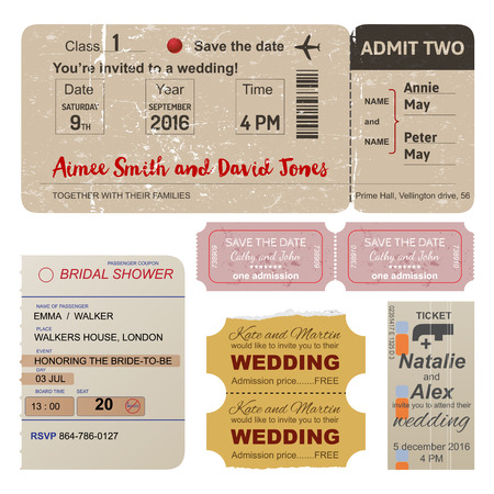 vintage symbol: World traveler tickets collection in vintage style