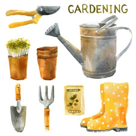 regar las plantas: Mano acuarela dibujada conjunto jardinería
