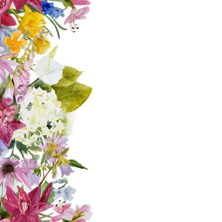 Hand getekende aquarel bloemen naadloze grens