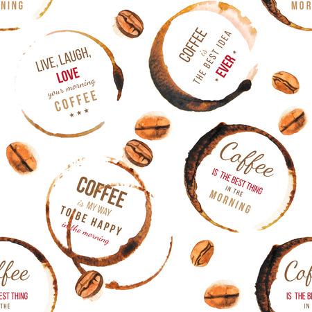 Koffievlekken met type ontwerpen - zeer gedetailleerde naadloze patroon
