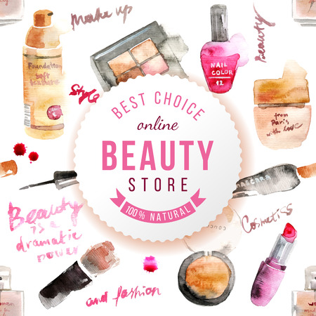 cosmeticos: Glamorous componen cosméticos acuarela de fondo Vectores