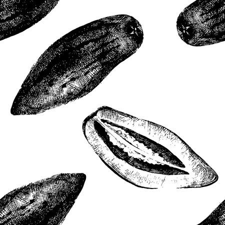 pepino: Hand drawn pepino melon seamless pattern