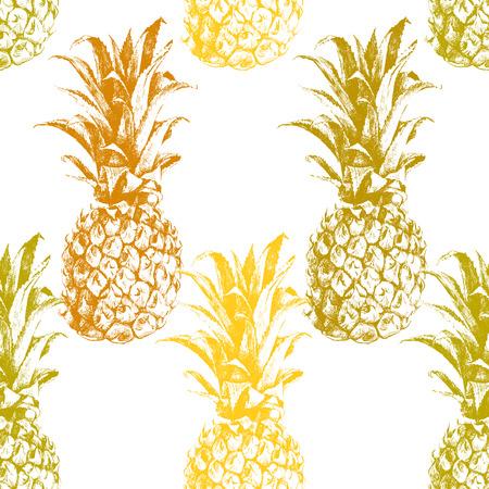 손으로 그린 파인애플 원활한 패턴
