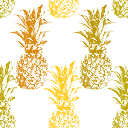 Hand drawn pineapple seamless pattern Imagens - 40616229