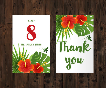 philodendron: 2 cards with tropical leaves and flowers on wooden background