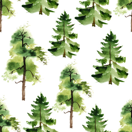 Watercolor trees seamless pattern on white background Vettoriali