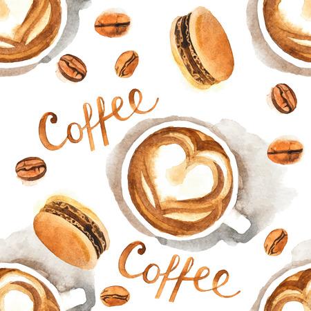 手描き水彩のコーヒーのシームレス パターン