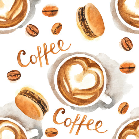 Hand drawn watercolor coffee seamless pattern