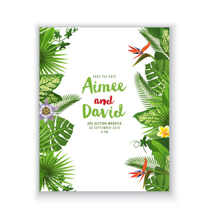 tropical bird: Save the date card with tropical plants and flowers