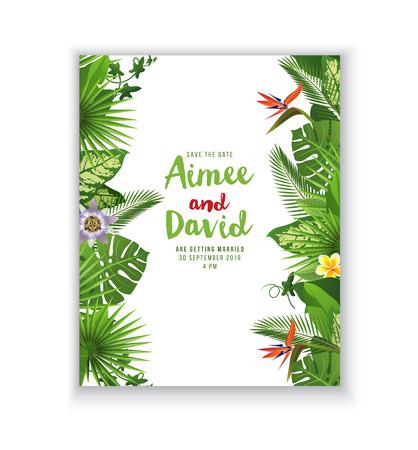 Svatební oznámení karta s tropickými rostlinami a květinami Ilustrace
