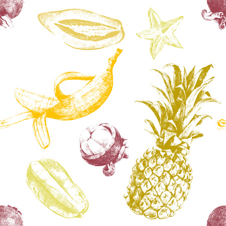 tropical fruit: Hand drawn tropical fruits seamless pattern