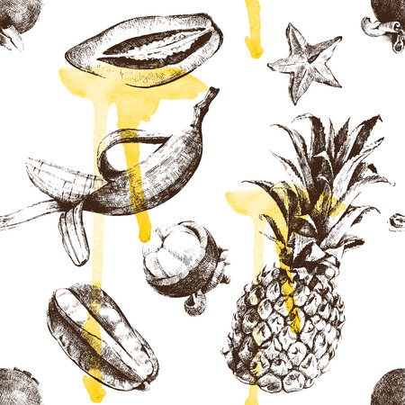 tropical food: Hand drawn tropical fruits seamless pattern