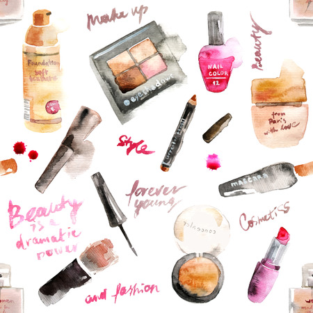 make up products: Glamorous make up watercolor cosmetics background Illustration